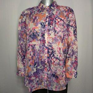 Relativity Colorful Mottled Button Long Shirt 2X